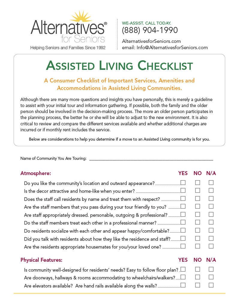 Assisted Living Checklist Alternatives For Seniors
